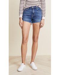 L'Agence Ryland High Waist Shorts - Blue