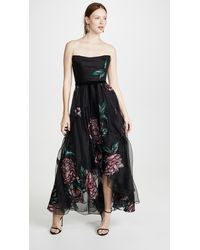 Marchesa notte Floral Embroidered Strapless High-low Organza Gown W/ Ribbon Trim - Black