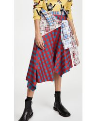 Marques'Almeida Patchwork Sleeve Skirt - Red