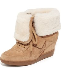 Ash Brendy Shearling Wedge Trainers - Multicolour