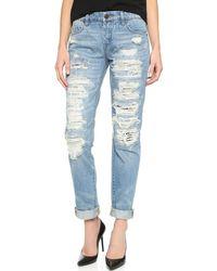 Blank - Distressed Boyfriend Jeans - Lyst
