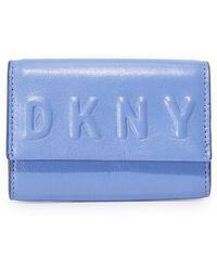 DKNY Debossed Card Case - Blue
