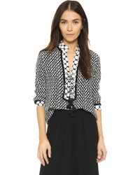 Dodo Bar Or Lace-up Peasant Blouse - Black