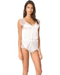 Else - Silk And Lace Romper - Lyst