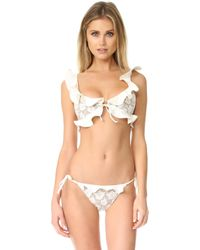For Love & Lemons - Corsica Lacey Ruffle Top - Lyst