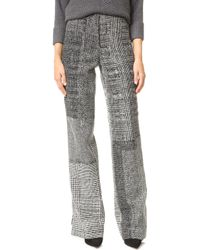 Jason Wu Patchwork Houndstooth Wide-leg Trousers - Black