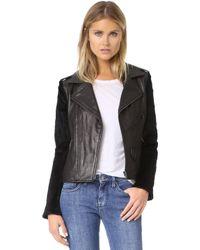 June - Moto Jacket With Fur Sleeves - Lyst
