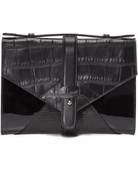 Little Liffner - Fan Mail Croc-Embossed Leather And Suede Clutch - Lyst