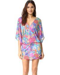 Luli Fama - Cabana V-neck Dress In Multicolor (l) - Lyst
