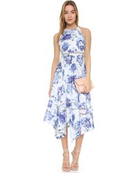 One By Flourish Floral-Print Crepe Dress - Blue