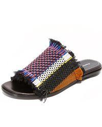 Proenza Schouler Striped Woven Sandals - Black