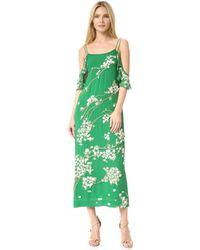 Rachel Zoe Sleeveless Cold-shoulder Floral Midi Cocktail Dress - Green