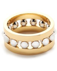 Rebecca Minkoff - Two Tone Beaded Ring - Lyst