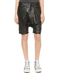 R13 Leather Harem Shorts - Black