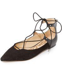 Sam Edelman Rosie Lace Up Flats - Black