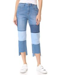 SJYP Multi Patched Cutoff Jeans - Blue