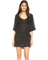 Sofia By Vix - Solid Black Crochet Caftan - Lyst