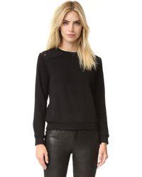 Suncoo - Lace Shoulder Sweatshirt - Lyst
