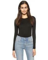 Three Dots Long Sleeve Bodysuit - Black