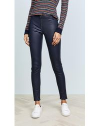Alice + Olivia Zip Front Leather Leggings - Blue