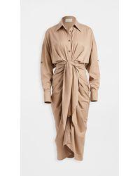 Divine Héritage Button Up Maxi Shirt Dress - Natural