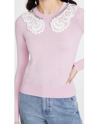 N°21 Lace And Jewel Collar Jumper - Pink
