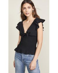 Amanda Uprichard Ember Smocked Top - Black