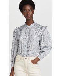 Something Navy Floral Ruffle Shirt - Gray