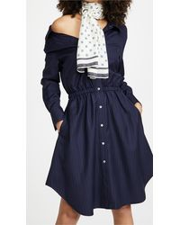By Any Other Name Falling Off Shoulder Mini Dress - Blue