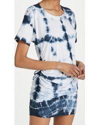 Sundry Side Shirred Dress - Blue