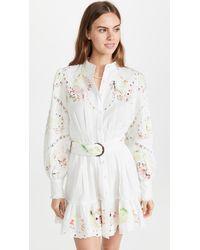 Hemant & Nandita Pleated Dress Short With Buckle Belt - White