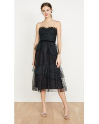 Marchesa notte - Strapless Glitter Tulle Gown - Lyst