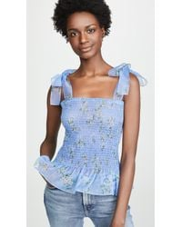 Amanda Uprichard Amara Smocked Top - Blue