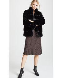 Apparis Sarah Quilted Faux Fur Coat - Black