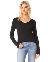 ATM | V Neck Raw Edge Sweater | Lyst