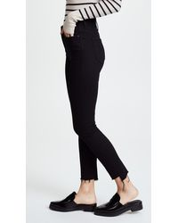 Mother The Stunner Zip Ankle Step Hem Jeans - Black