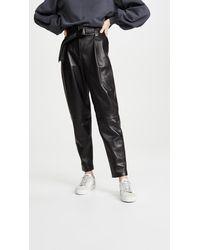 Anine Bing Inez Leather Pants - Black