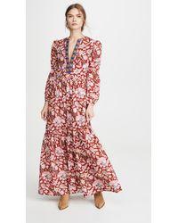 Alix Of Bohemia Paradise Bird Block Print Dress - Red