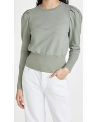 AG Jeans Seam Walker Puff Sleeve Sweatshirt With Yoke - Multicolour