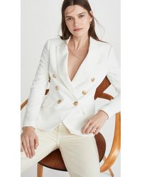 L'Agence Kenzie Double Breasted Blazer - White