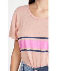 Sundry Colour Stripes Vintage Tee - Pink