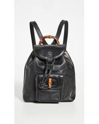 What Goes Around Comes Around Gucci Small Bamboo Backpack - Black