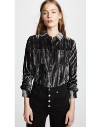 Splendid - Moonstone Velvet Button Down Shirt - Lyst