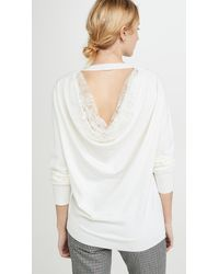 Adam Lippes Drape Back Lace Merino Knit - White