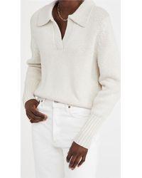 Bassike Cotton Merino Polo Knit - White