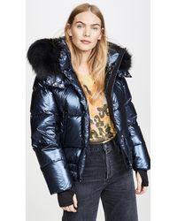 Sam. Stormi Fur Jacket - Blue