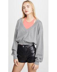 T By Alexander Wang Bi-layer Sweater Top - Gray