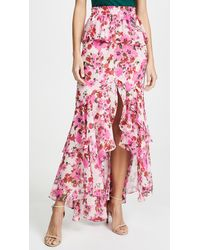 MISA Los Angles Lucia Floral Tiered Split Long Skirt - Pink