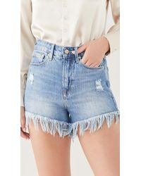 GOOD AMERICAN Bombshell Shorts With Chewed Pockets - Blue