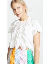 Paskal - Short Sleeve Draped Crop Top - Lyst